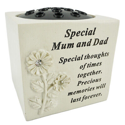 Special Mum and Dad Graveside Memorial Flower Pot Verse Grave Vase Loved Garden