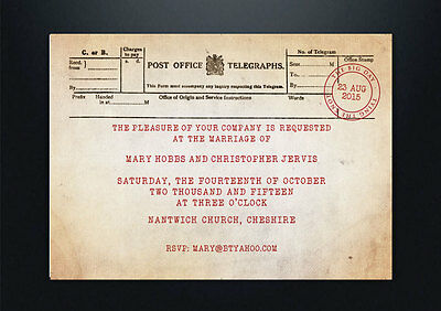 Personalised Vintage Post Office Telegram Wedding Invitations Shabby Chic Style