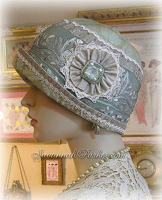 Antique Style 1920s Gatsby Flapper Downton Abbey Cloche Silk Embroidered Hat