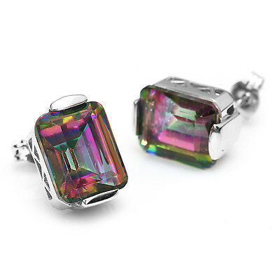 9.5ct Emerald Natural Mystic Rainbow Topaz Earrings Stud 925 Sterling Silver