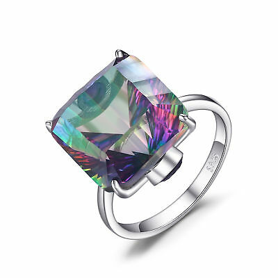 10ct Concave Genuine Fire Rainbow Topaz Ring Solid 925 Sterling Silver