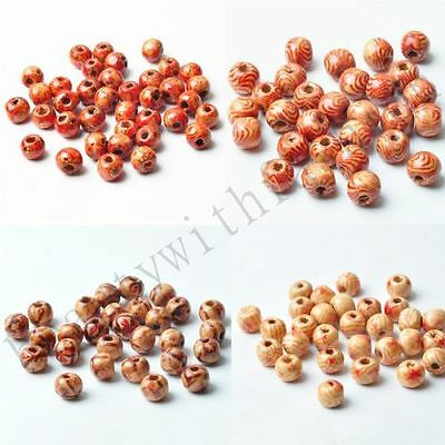 100 pcs Mixed Color Painted Wood Round Charms Jewelry Findings Loose Beads 8 mm