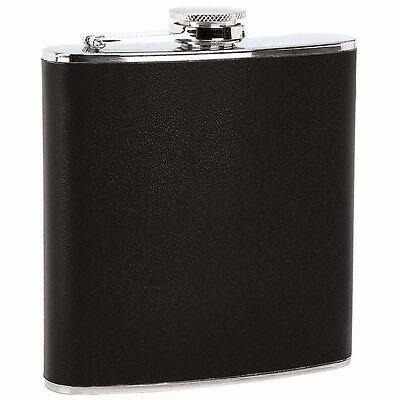 New 6 Oz FLASK Black Wrap Stainless Steel Screw Cap Hip Pocket Liquor Whiskey