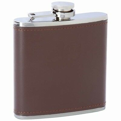 6 oz FLASK Brown Solid Genuine Leather Stainless Steel Pocket Screw Cap Liquor