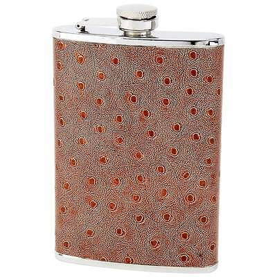 New 8 oz FLASK Faux Leather Ostrich Stainless Steel Pocket Screw Down Cap Liquor