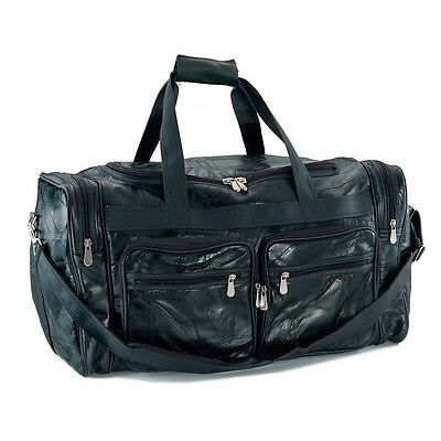 """NEW Large 24"""" Black Leather Tote Bag /Gym Carry On Shoulder Mens Luggage Womens"""