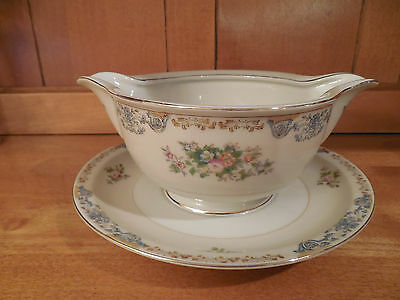 CROWN IVORY CHINA Occupied Japan Blue Green Flower Gravy Bowl w/ Attached Plate