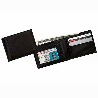 New Small Mens Black Genuine Leather BIFOLD WALLET Billfold Credit Card ID Photo