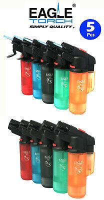 5 Pack Eagle Torch Straight Up Single Flame Lighter Refillable Windproof Lighter