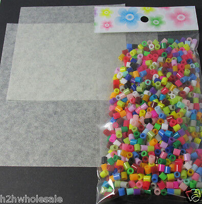 1000 Mixed Coloured Fuse Beads with 2 free re-usable ironing sheets, UK Seller