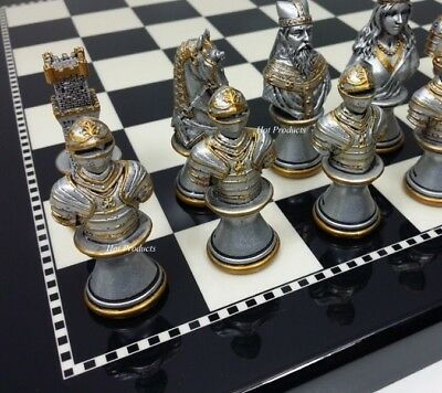 MEDIEVAL TIMES CRUSADES BUSTS GOLD SILVER Chess Set BLACK & WHITE BOARD 15""