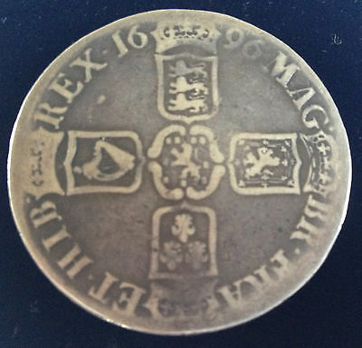 WILLIAM III STERLING SILVER CROWN 1696 NF/NF  Coin