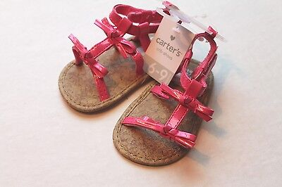 5c253ecf42ea Carter s Infant Baby Girl Size 3 Pink Patent Sandals Shoes 6-9 Months NEW