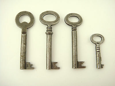 Set of 4 European Antique Vintage barrel Keys