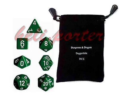 *100%New*TRPG games Dungeons & Dragons RPG Dice set of  7 Opaque Green with bag