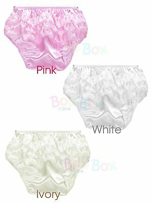 Baby Girls Frilly Satin Christening Knickers 0-6 6-12 in Ivory, Pink and White