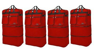 "4-Pack 40"" Red  Expandable Rolling Wheeled Duffle Bag Spinner Suitcase Luggage"