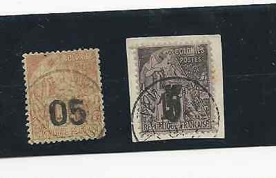 MADAGASCAR 1891 OVERPRINTS SCOTT #'s 4 & 6 USED VERY GOOD COND FREE SHIPPING