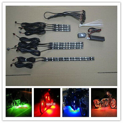 10pc Multi Color 54 LED Motorcycle Lighting Neon Glow Lights Flexible Strip Kit