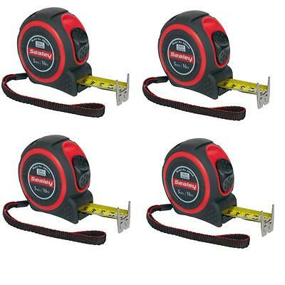 4 x Sealey 5M / 16Ft Class II high accuracy tape measures - trade measuring tape