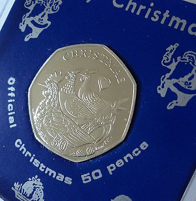 2007 Isle of Man Christmas Three French Hens 50p Coin (BU) Gift in Display Case