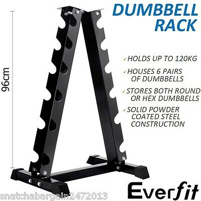 Everfit Vertical Dumbbell Storage Rack 6 Pairs Weights Stand Strength Fitness