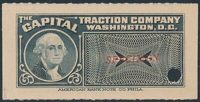 "CAPITAL TRACTION Co. WASHINGTON D.C. ONE FARE ""SPECIMEN"" BR5868"