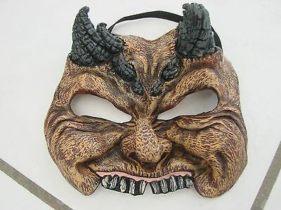 Devil face mask teen adult rubber latex with horns elastic halloween brown black
