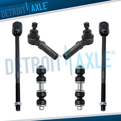 6 pc Set: Pair of Front Sway Bar Link Kit + Inner & Outer Tie Rod Ends for NEON