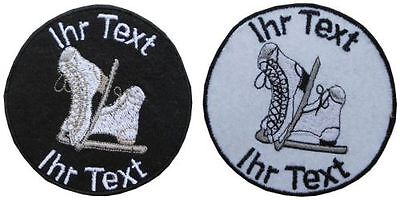 figure ice skating scates patch with your text 10cm embroidered logo (161)