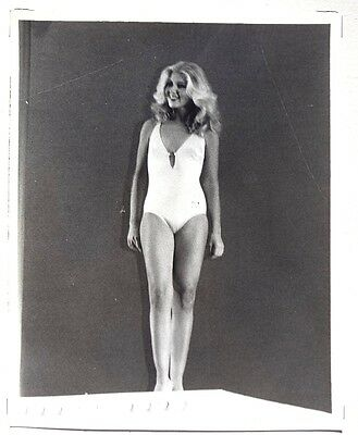 Vintage 1950's Black & White PIN-UP Sexy HEADSHOT Swim Suit Show 22 Model PHOTO