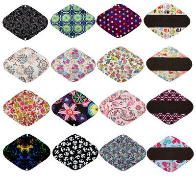 6 CHARCOAL Bamboo Mama Cloth Menstrual Pads Heavy Flow Reusable Large L 12in