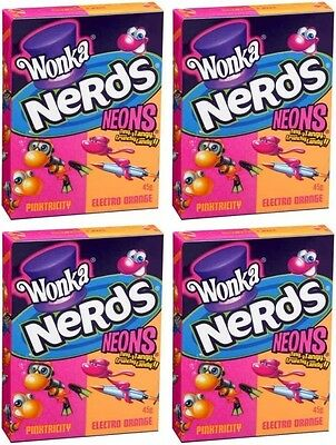 Bulk Lot 12 x Wonka Nerds Neons 45g Pinktricity & Electro Orange Candy Lollies