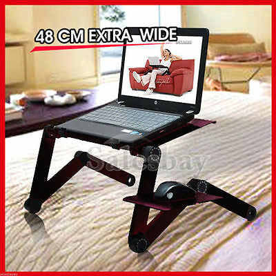Portable Adjustable Laptop Notebook Desk Table Cooling Fan Mouse holder Tray Bed