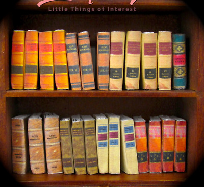 25 LAW LIBRARY Miniature Books Dollhouse 1:12 Scale Fill Bookshelf Prop Books