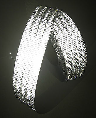 Hi-Vis White Silver Adhesive Vehicle Reflective Safety Tape 50mm x 5m Roll