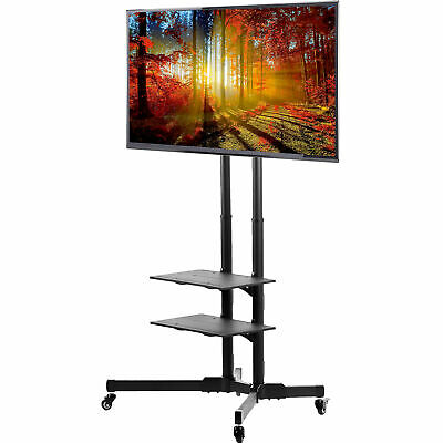 "TV Cart for LCD LED Plasma Flat Panels Stand with Wheels Mobile fits 32"" to 65"""