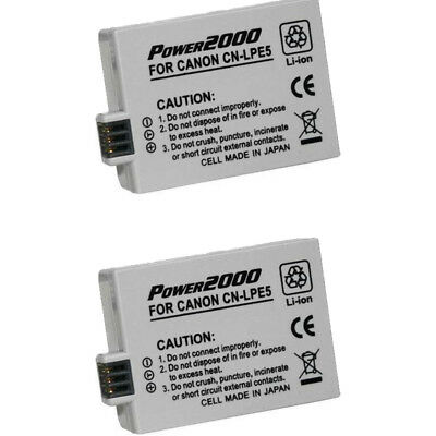 2 X Power2000 LP-E5 Rechargeable Battery for Canon XS, XSi, T1i SLR Camera