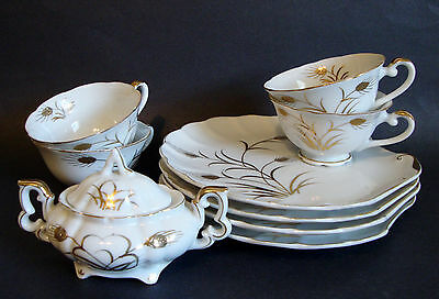 4 Lefton China Clam Shell Snack Trays/Tea Cups and Sugar Bowl-White/Gild Wheat