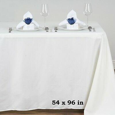 "Ivory POLYESTER 54x96"" RECTANGLE TABLECLOTHS Wedding Party Catering Dinner Linen"