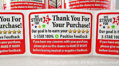 50 Thank You For Your Purchase Order Shipping Labels Stickers 2x3 Business