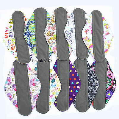 3 Overnight PP CHARCOAL Bamboo Reusable Cloth Mama Menstrual Pads XL 14in