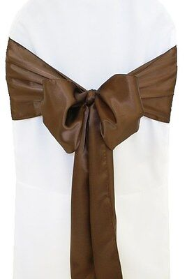 "250 Chocolate Brown Satin Chair Cover Sash Bows 6"" x 108"" Banquet Made in USA"
