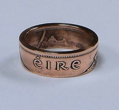 Ring hand made from Irish half Penny coin
