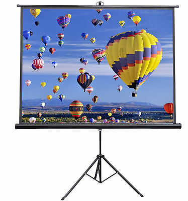 """New 84"""" Portable Projector Screen 4:3 Projection Pull Up Foldable Stand Tripod"""