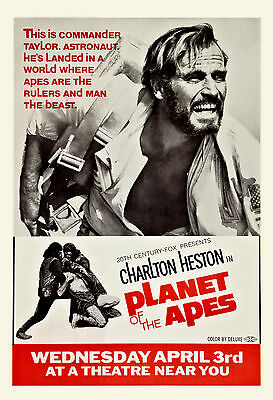 1960's Sci-Fi  * The Planet of the Apes  *  Advance Movie  Poster 1968  13x19