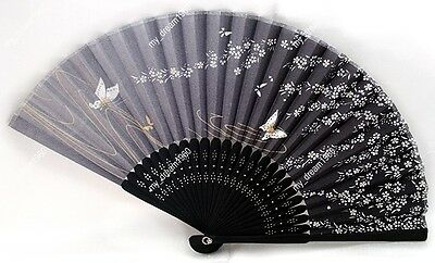 Chinese Bamboo Folding Silk Handmade Butterfly Pattern Floral Party Fan  Black
