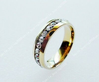 FREE 1PCS Charms FULL CZ Rhinestone Stainless Steel 18K Gold GP Ring SIZE 17MM