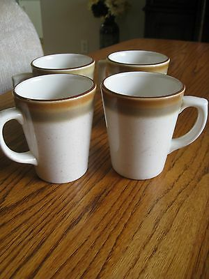 Buffalo China Coffee Mug Restaurant Ware Brown Speckled Brown/Taupe Bands Set/ 4