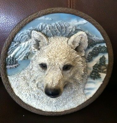 Faces Of The Wild Plate THE WHITE WOLF 3D Bradford Exchange